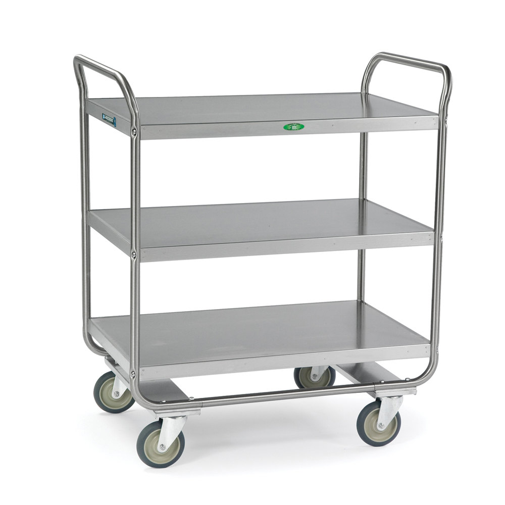 Metal Utility Cart: Lakeside 244 Stainless Steel Three Shelf Tubular Utility