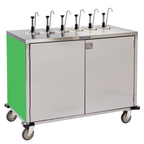 "Lakeside 70271G Stainless Steel E-Z Serve 12-Pump Condiment Dispensing Cart with Green Finish for 3 Gallon Condiment Pouches - 27 1/2"" x 50 1/4"" x 48 1/2"" Main Image 1"
