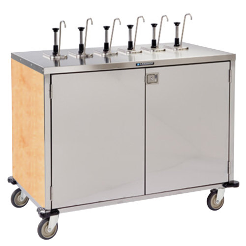 "Lakeside 70271HRM Stainless Steel E-Z Serve 12-Pump Condiment Dispensing Cart with Hard Rock Maple Finish for 3 Gallon Condiment Pouches - 27 1/2"" x 50 1/4"" x 48 1/2"" Main Image 1"