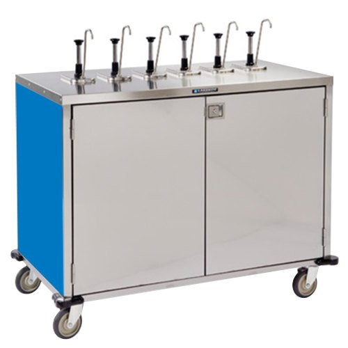 """Lakeside 70271BL Stainless Steel E-Z Serve 12-Pump Condiment Dispensing Cart with Royal Blue Finish for 3 Gallon Condiment Pouches - 27 1/2"""" x 50 1/4"""" x 48 1/2"""""""