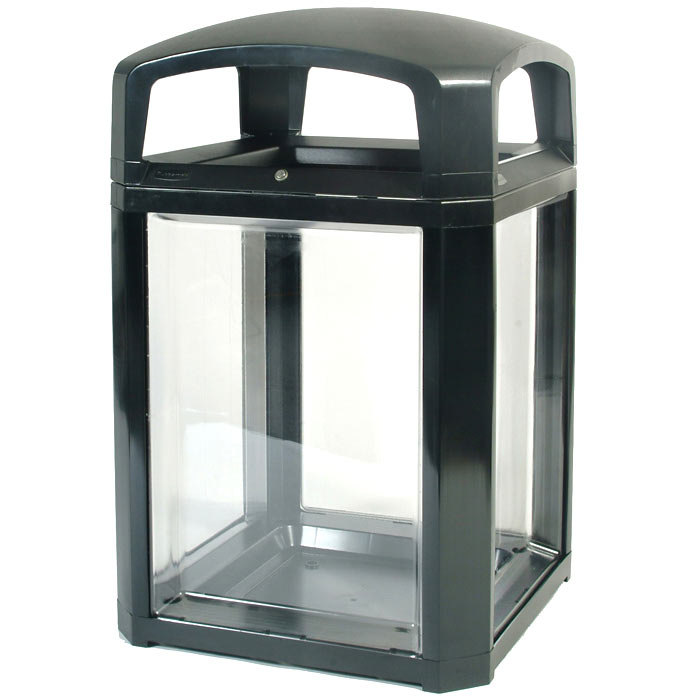 Rubbermaid FG397589BLA Landmark Series Black Security Container with Lock and Clear Panels 50 Gallon Main Image 1