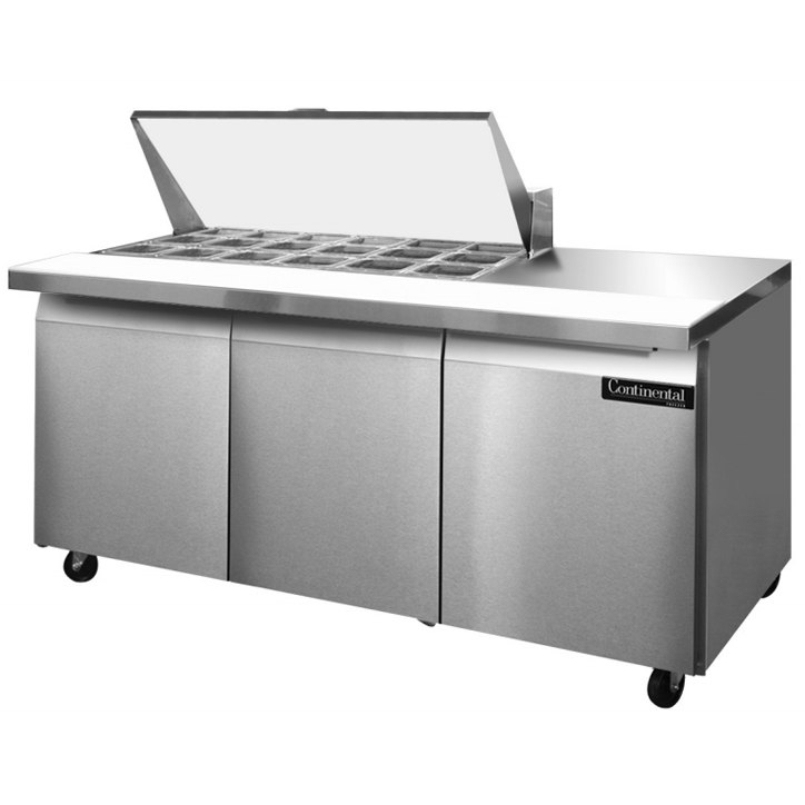 "Continental Refrigerator SW72-18M 72"" 3 Door Mighty Top Refrigerated Sandwich Prep Table"