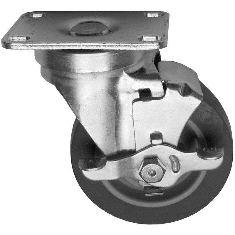 "Dito Dean 30-0034 Equivalent 4"" Swivel Plate Caster with Brake - 275 lb. Capacity Main Image 1"