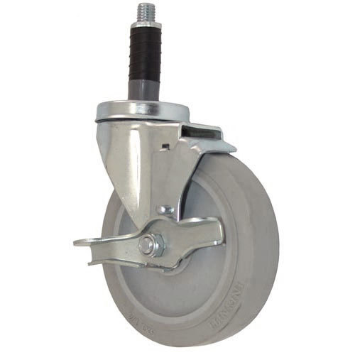 """All Points 26-2399 5"""" Swivel Stem Caster with Brake for 1"""" O.D. Tubing - 300 lb. Capacity Main Image 1"""