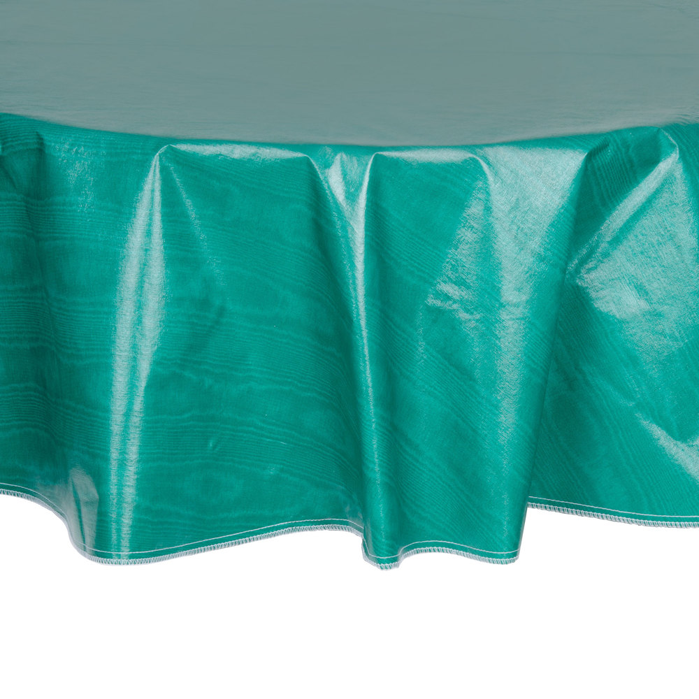 60 Quot Round Green Vinyl Table Cover With Flannel Back