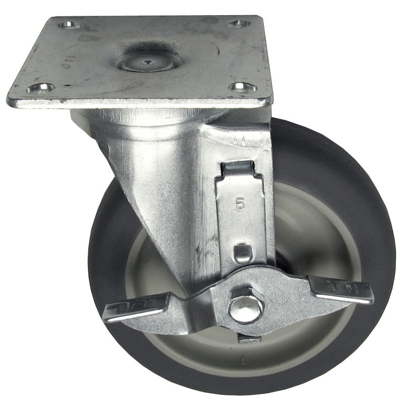 "All Points 26-2427 5"" Swivel Plate Caster with Brake - 300 lb. Capacity"