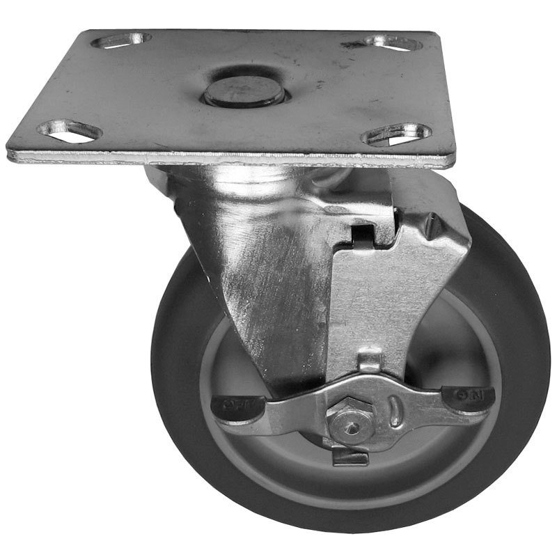 "Alto-Shaam CS-2026 Equivalent 5"" Swivel Plate Caster with Brake - 300 lb. Capacity"