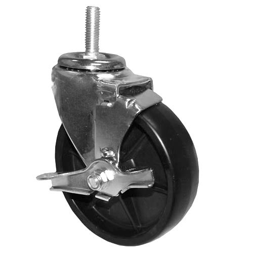 "All Points 26-3269 5"" Swivel Threaded Stem Caster with Brake - 1/2""-13 x 1 1/2"" Stem, 260 lb. Capacity"