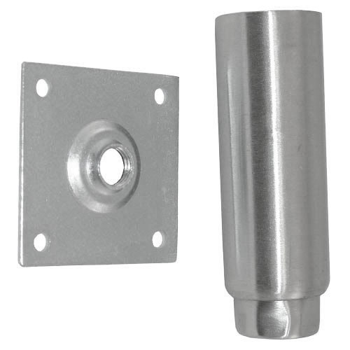 "All Points 26-3298 Stainless Steel 6"" Adjustable Equipment Leg; Hex Foot; 3 1/2"" Plate Mount Main Image 1"