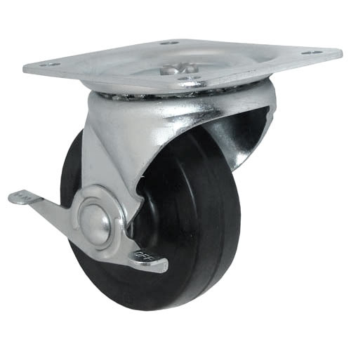 "All Points 26-3328 4"" Swivel Plate Caster with Brake - 300 lb. Capacity Main Image 1"