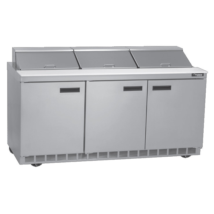 "Delfield UC4472N-18 72"" 3 Door Reduced Height Refrigerated Sandwich Prep Table"