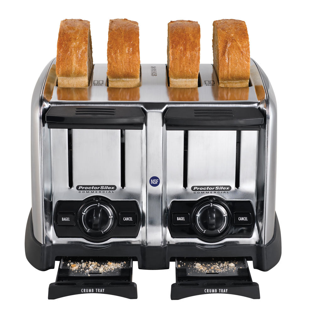 four slot pop-up toaster with toast inside and crumb trays extended