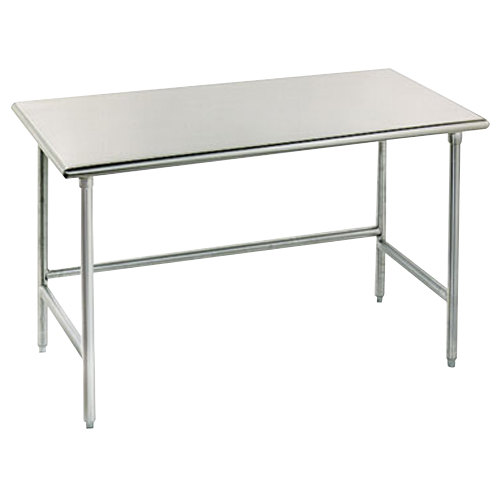 """Advance Tabco TSS-307 30"""" x 84"""" 14 Gauge Open Base Stainless Steel Commercial Work Table"""