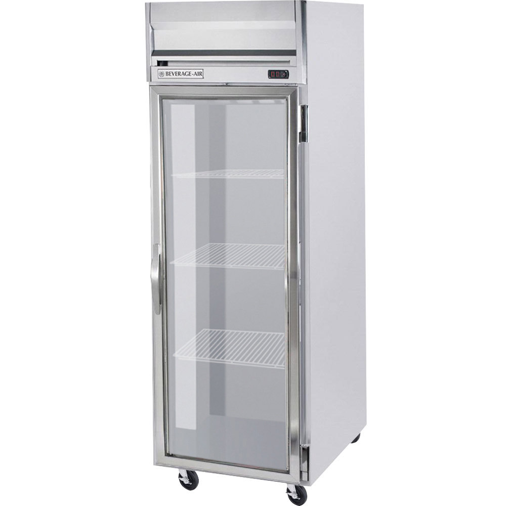 Beverage Air HR1W 1G LED 1 Section Glass Door Reach In Refrigerator