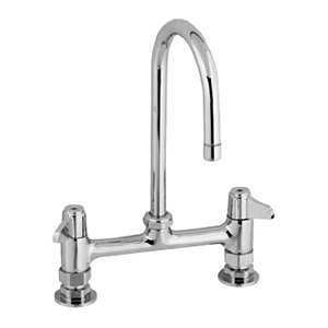"Equip by T&S 5F-8DLX05 Deck Mount Swivel Base Faucet with 5 1/2"" Swivel Gooseneck and 8"" Centers - ADA Compliant"