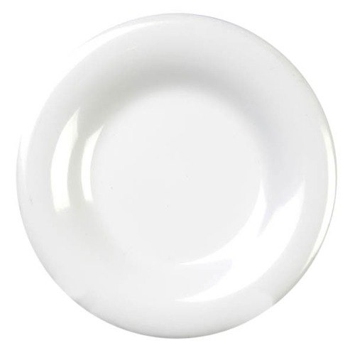 "Thunder Group CR009W 9 1/4"" White Wide Rim Melamine Plate - 12/Pack"