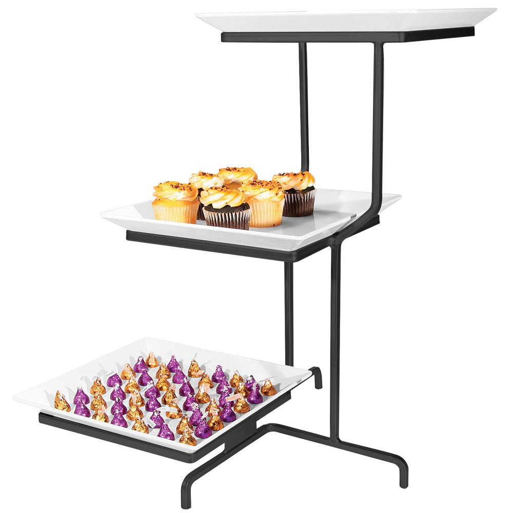 Cal-Mil SR2301-13 Black Three Tier Offset Stand with Square Melamine Plates -  sc 1 st  WebstaurantStore & 3 Tier Plate Stand - WebstaurantStore