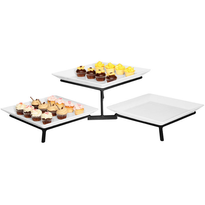 Cal-Mil SR1600-13 Black Two Tier Metal Wire Stand with Square ...