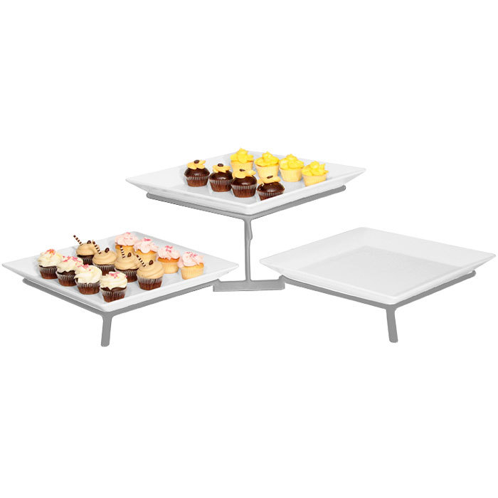 "Cal-Mil SR1600-39 Platinum Two Tier Metal Wire Stand with Square Melamine Platters - 16"" x 31"" x 9"""