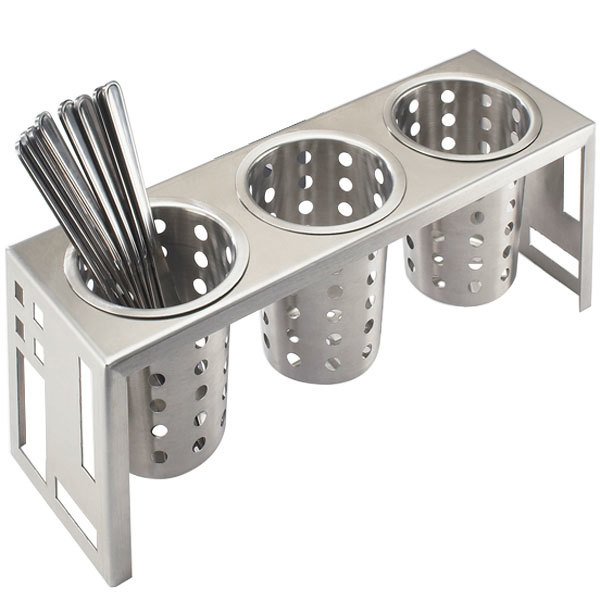 "Cal-Mil 1608-55 Squared Stainless Steel Three Cylinder Display - 16"" x 5 1/4"" x 6"""