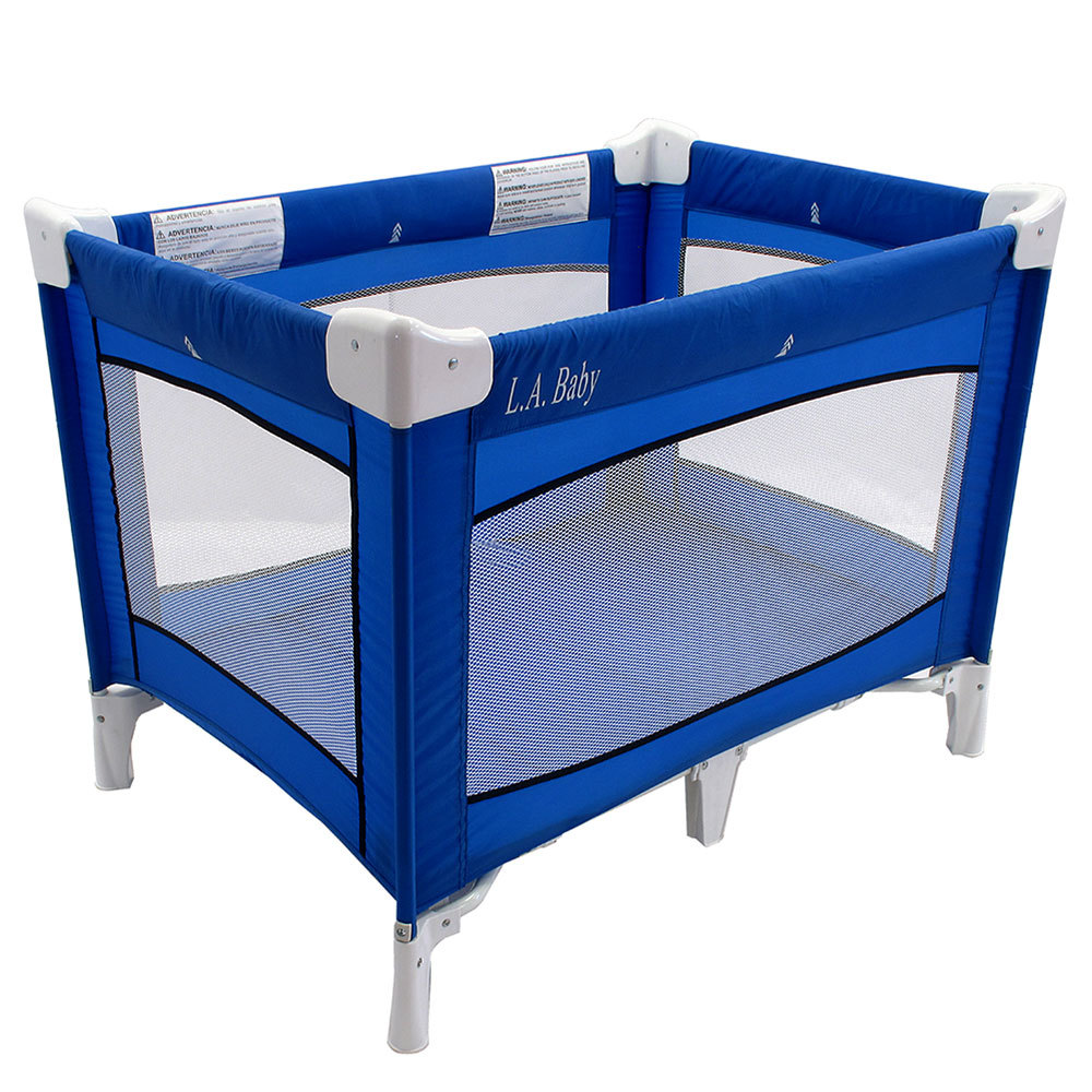 Waterproof Mattress Pad Crib L.A. Baby PY-87-CS-0406 Collapsible Blue Play Yard with ...