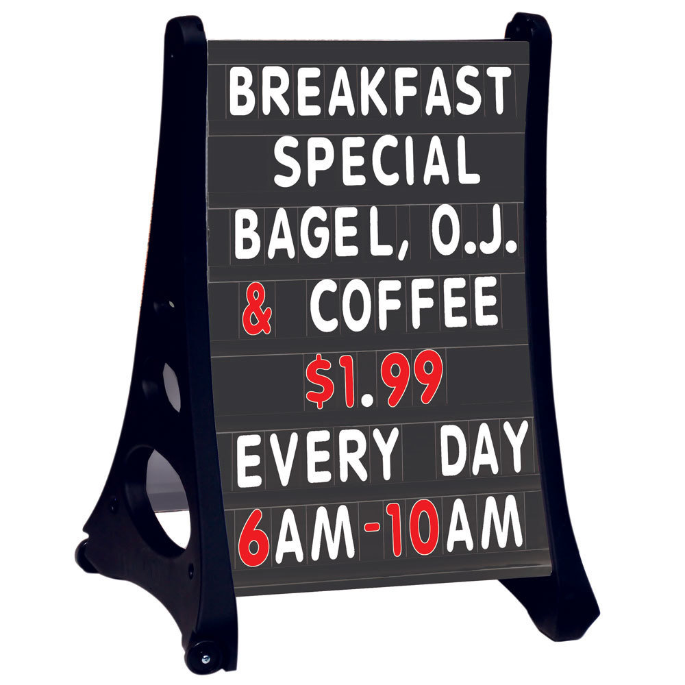 Aarco Roll A Frame Two Sided Black Letterboard With Stand