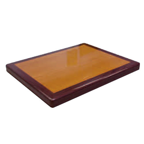 "American Tables & Seating ATR2430 Resin Super Gloss 24"" x 30"" Rectangle Two Tone Table Top - Cherry and Mahogany"