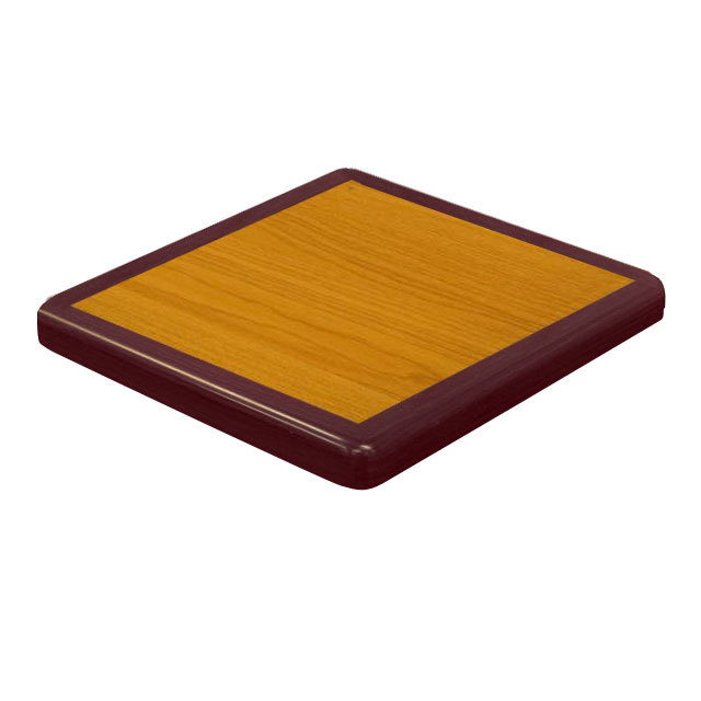 "American Tables & Seating ATR3636 Resin Super Gloss 36"" Square Two Tone Table Top - Cherry and Mahogany"