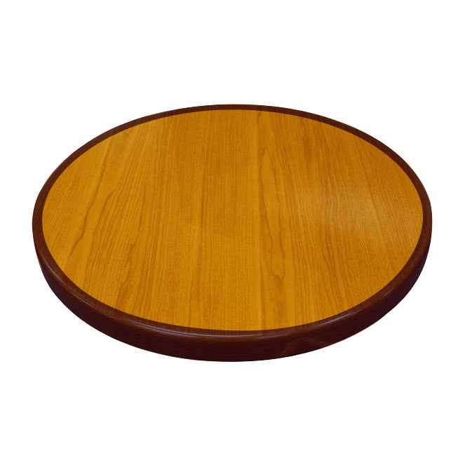 "American Tables & Seating ATR24 Resin Super Gloss 24"" Round Two Tone Table Top - Cherry and Mahogany"