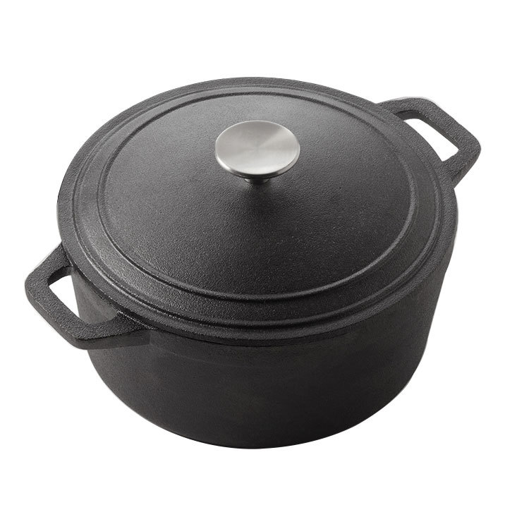 "American Metalcraft CIPR3 8 3/4"" Round Cast Iron Casserole with Handles"