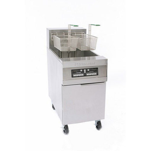 Frymaster RE180 80 lb. High Production Electric Floor Fryer with SMART4U 3000 Controls and Automatic Basket Lifts - 240V, 3 Phase, 21 kW