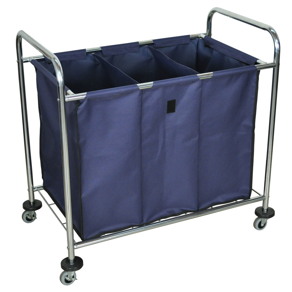 Luxor HL15 7 Bushel 3 Compartment Industrial Laundry Cart With Dividers
