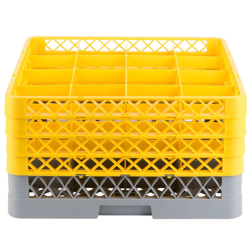 Gray plastic glass rack with four yellow extenders with open sides