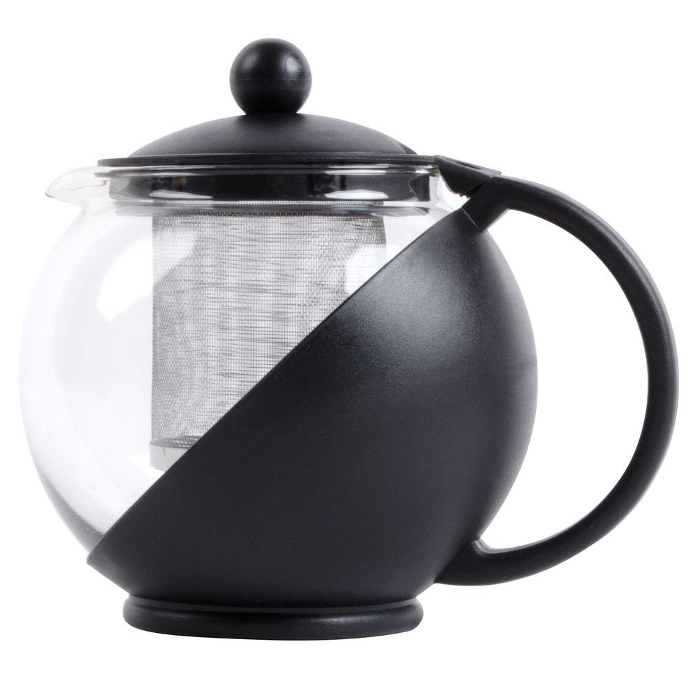 25 oz tempered glass tea pot infuser with stainless steel basket. Black Bedroom Furniture Sets. Home Design Ideas