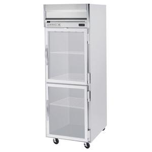 Beverage Air HFP1-1HG-LED 1 Section Glass Half Door Reach-In Freezer - 24 cu. ft., Stainless Steel Exterior