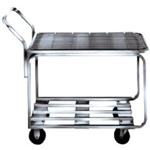 "Winholt 9000-STK4 Two Shelf Chrome Plated Steel Stocking Cart - 44"" x 18 1/2"""