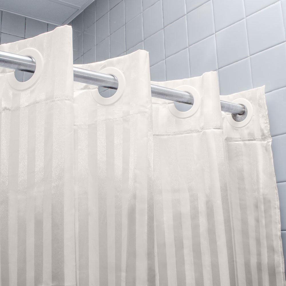 polyester  x  beige satin stripe ringless shower curtain -  image preview