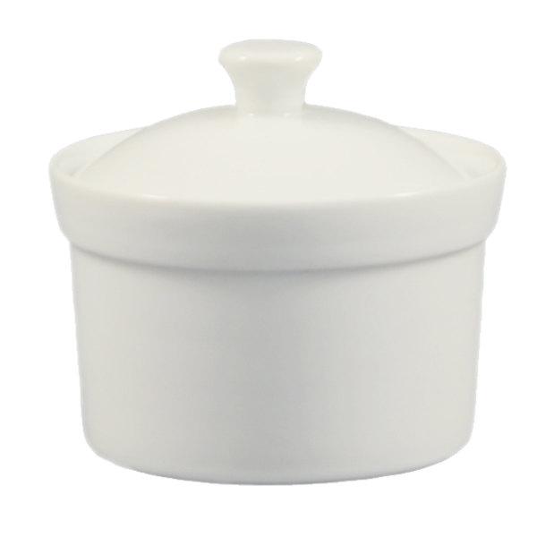 Famous CAC CAS-B10 Super White 10 oz. Soup Bowl with Lid - 24/Case MG76
