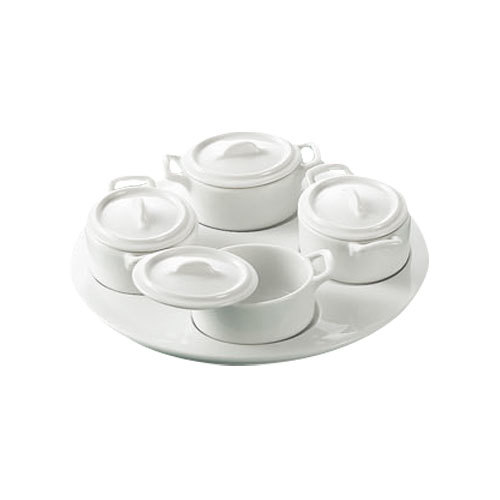 """CAC PT-B5 Gourmet 9 1/2"""" Bright White Round Porcelain Tray with (4) 3 oz. Oval Jars with Lids - 6/Case"""