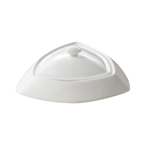 CAC TR-B6 Super White 5 oz. Triangle Bowl with Lid - 24/Case