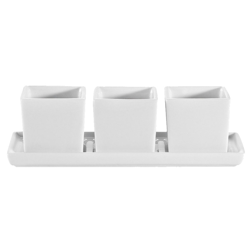 """CAC DT-3RT7 Gourmet 7 1/2"""" X 2 1/2"""" Bright White Porcelain Tray with (3) 2 oz. Square Bowls - 10/Case"""