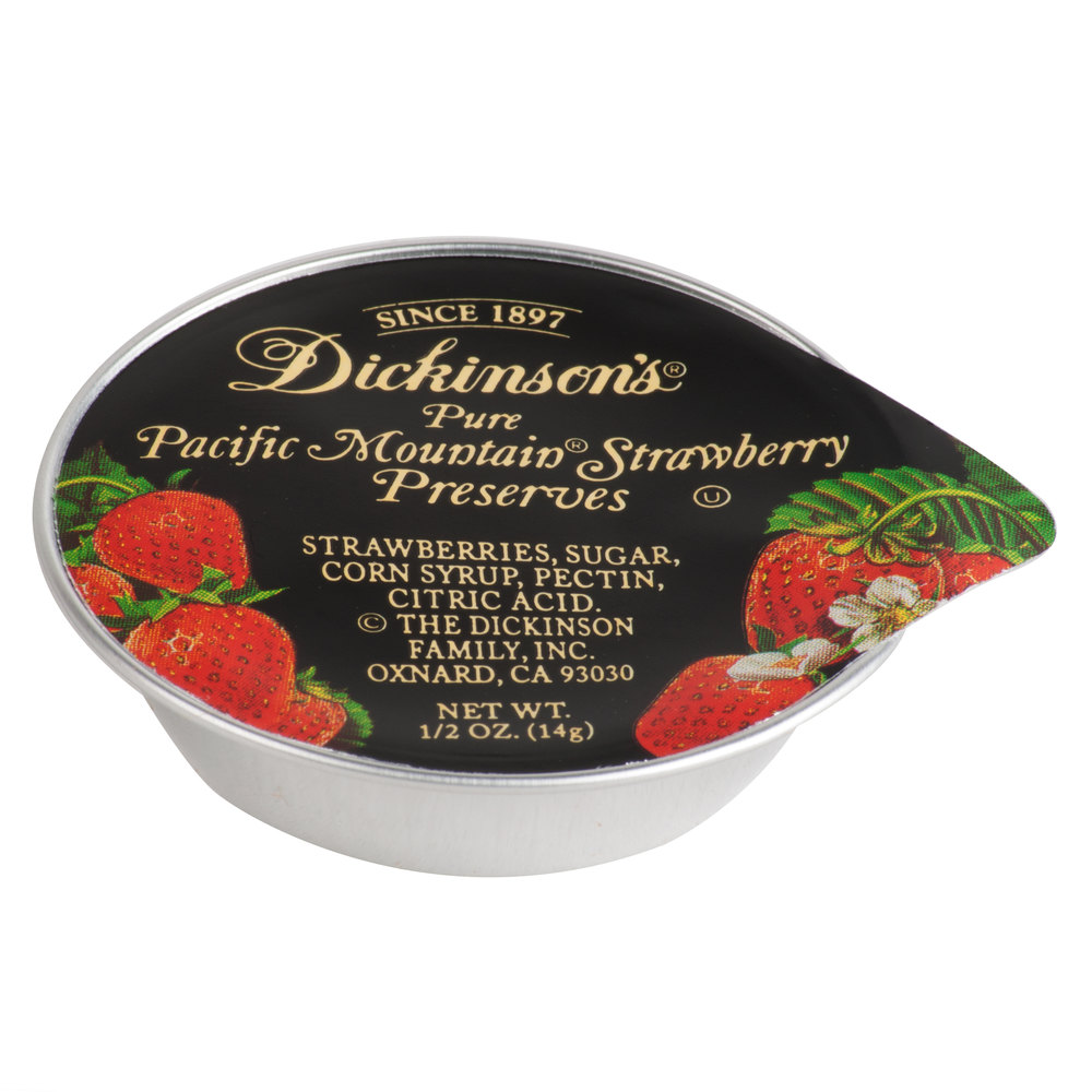 Dickinson's Pure Pacific Mountain Strawberry Preserves - (200) .5 oz ...
