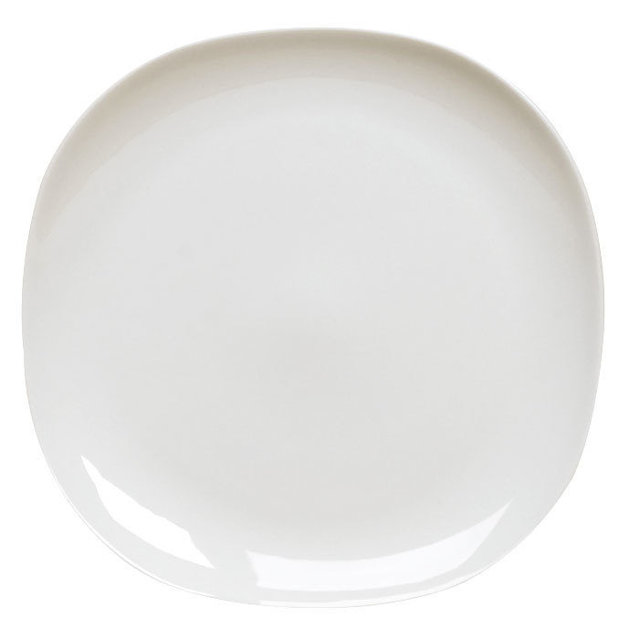 "Homer Laughlin 20196800 Ameriwhite Alexa 9 1/4"" Bright White Square China Plate - 12/Case"