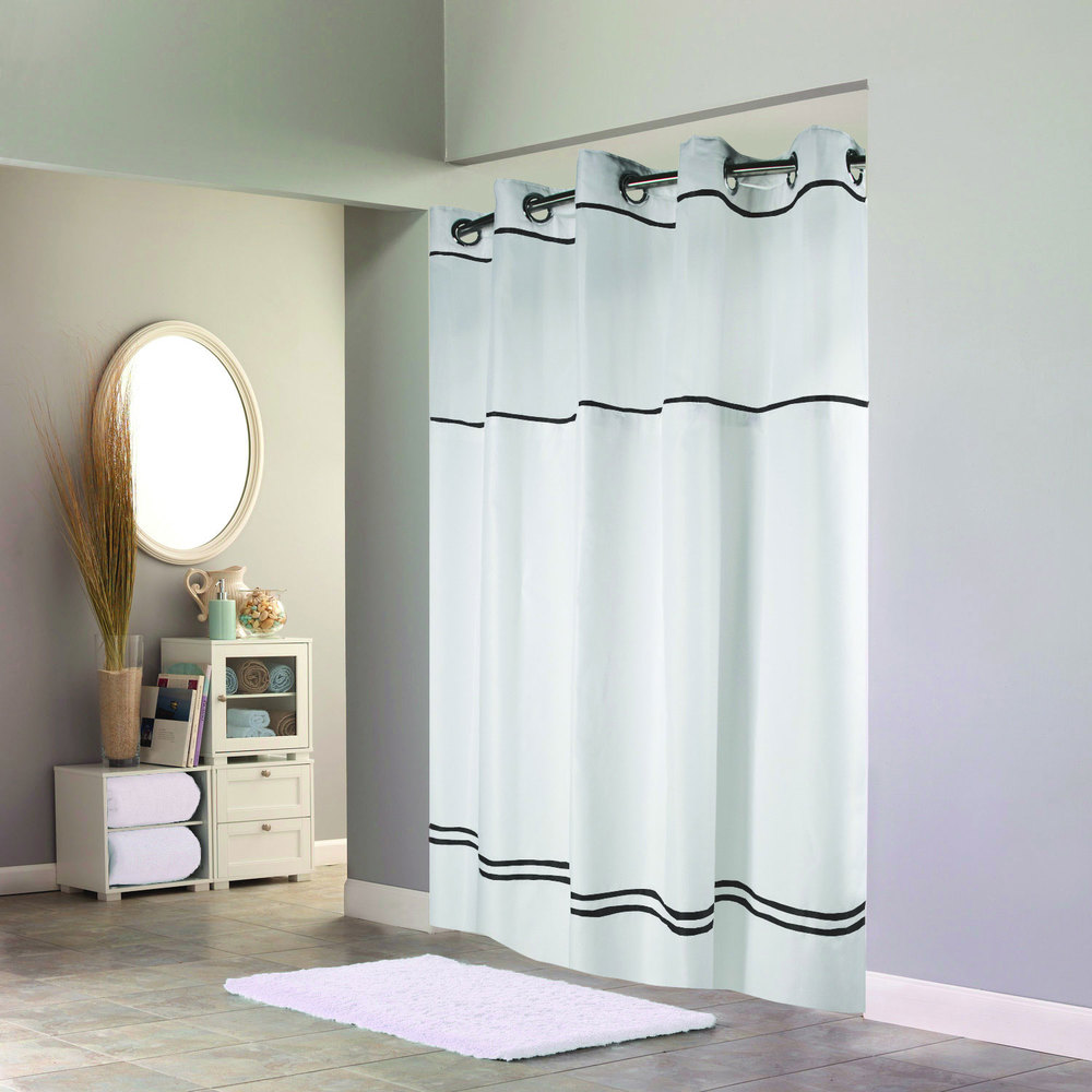 hookless white with black stripe escape shower curtain with chrome raised flexon rings