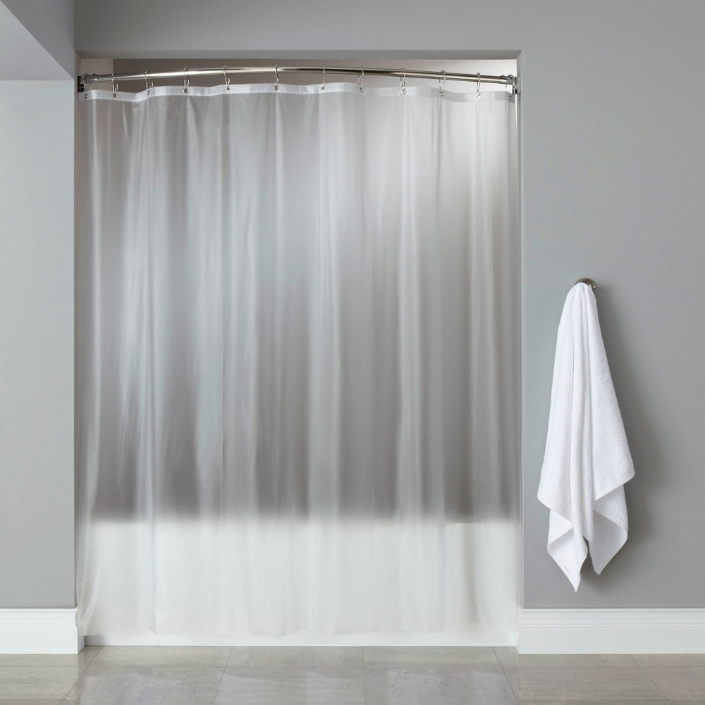 Hooked HBG08GA0972 Frost 8 Gauge Vinyl Basic Shower Curtain With Chrome Plated Copper Grommets