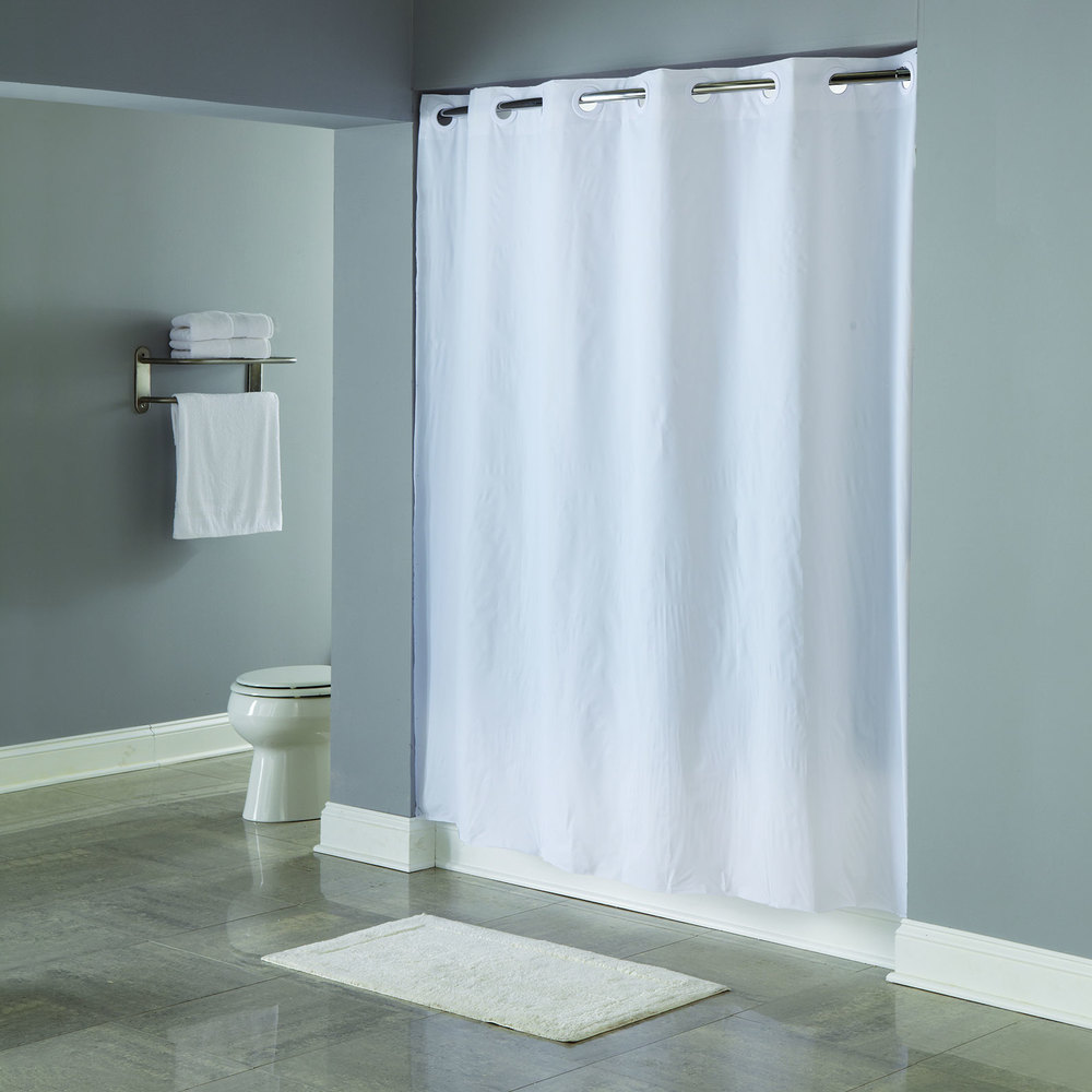 Hookless HBH16SND0174 White 5 Gauge PEVA One PLANET Shower Curtain With Matching Flat Flex