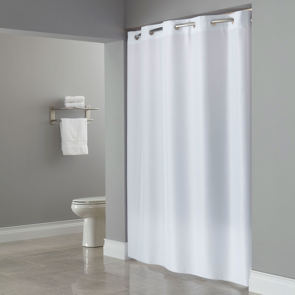 Hookless HBH40PLW01L White ADA Size Plainweave Shower Curtain With Matching Flat Flex On Rings And