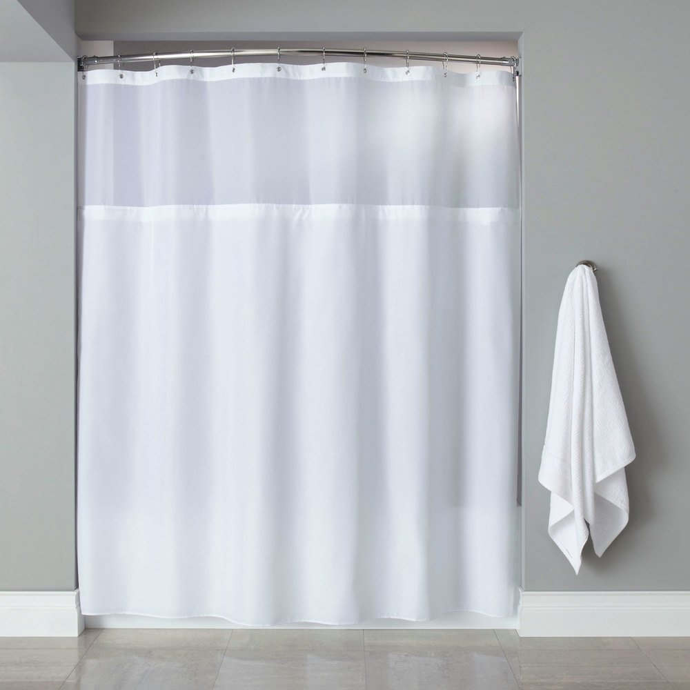 Hooked Hbg40mys01sl White Polyester Premium Shower Curtain With Buttonhole Header It 39 S A Snap