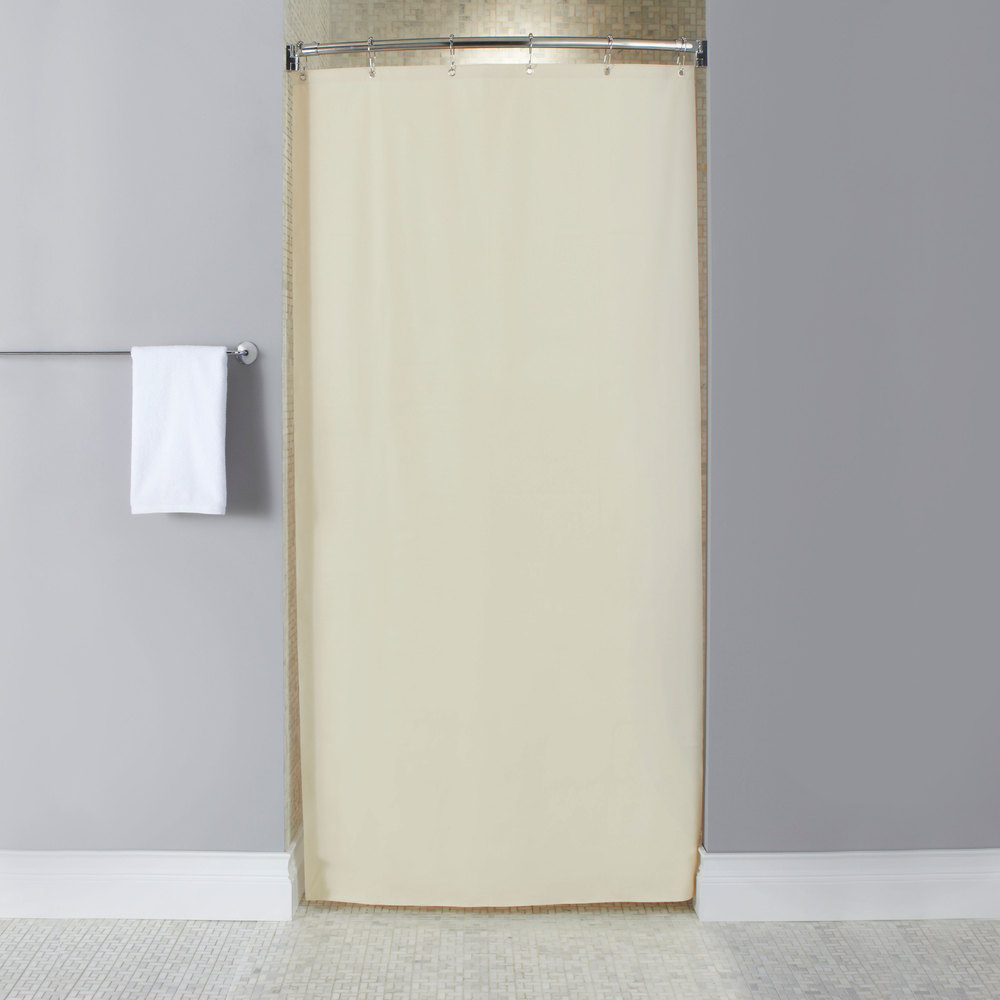 Hooked Hbg10ga053672 Beige 10 Gauge Vinyl Stall Size Shower Curtain With Chrome Plated Copper