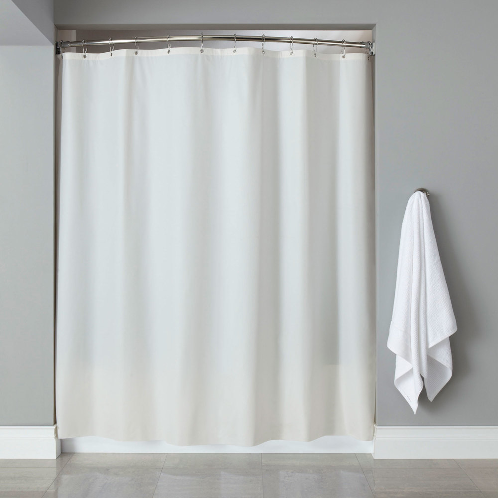 Hooked HBG03GA0172 White 6 Gauge Vinyl Shower Curtain With Chrome Plated Copper Grommets